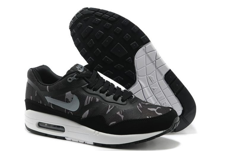 Nike Air Max 1 Premium Tape Men's Running Shoes Black Wolf Grey White