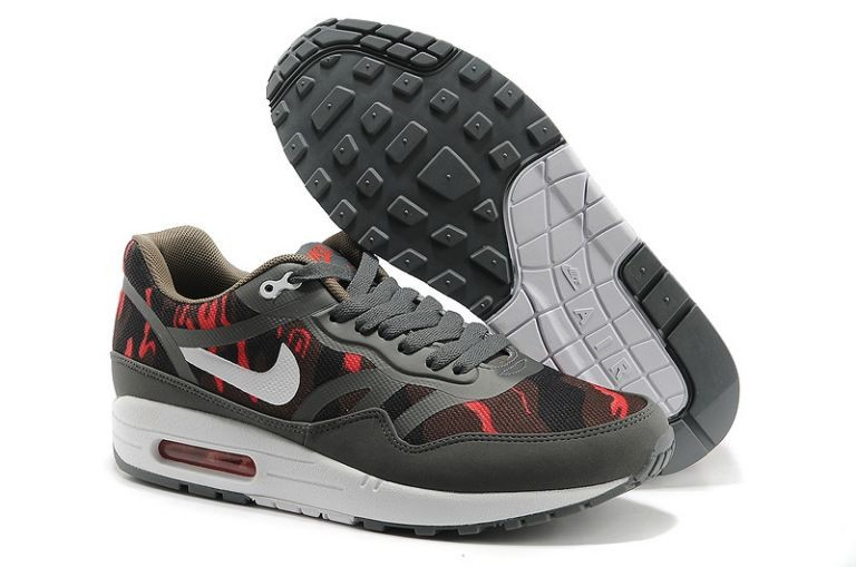 Nike Air Max 1 Premium Tape Men's Running Shoes Brown Anthracite Atomic Red White