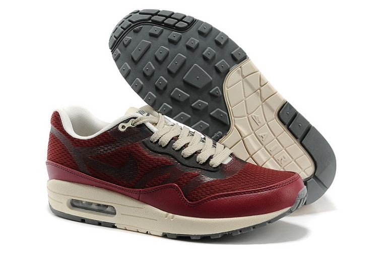 Nike Air Max 1 Premium Tape Men's Running Shoes Team Red Beige