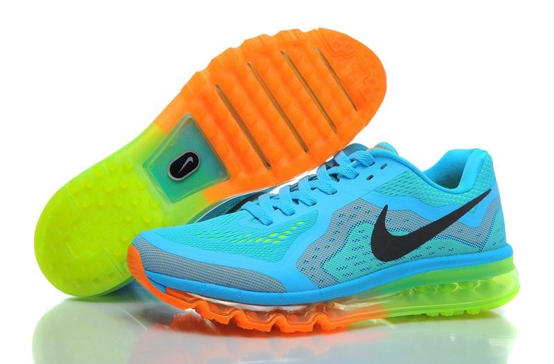 Nike Air Max 2014 Mens Running Shoes Gamma Blue Black Total Orange Volt