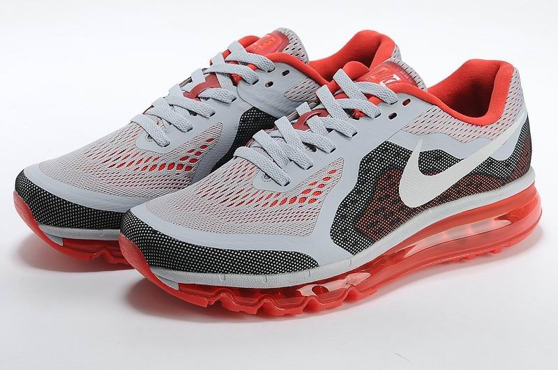 Nike Air Max 2014 Mens Running Shoes Light Grey Red