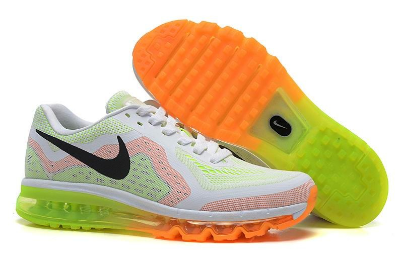 Nike Air Max 2014 Mens Running Shoes White Orange Electric Green