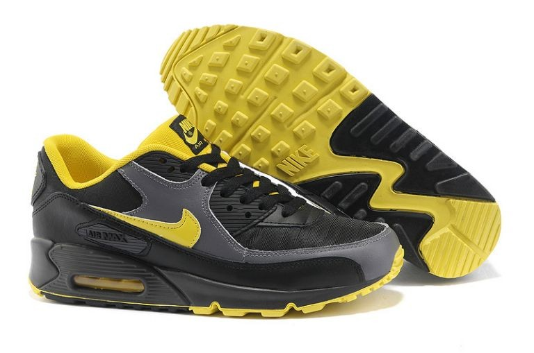 Nike Air Max 90 Essential Mens Trainers Black Sport Grey Sonic Yellow
