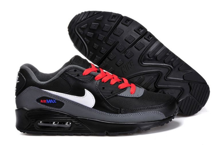 Nike Air Max 90 Essential Mens Trainers Black White Grey Red