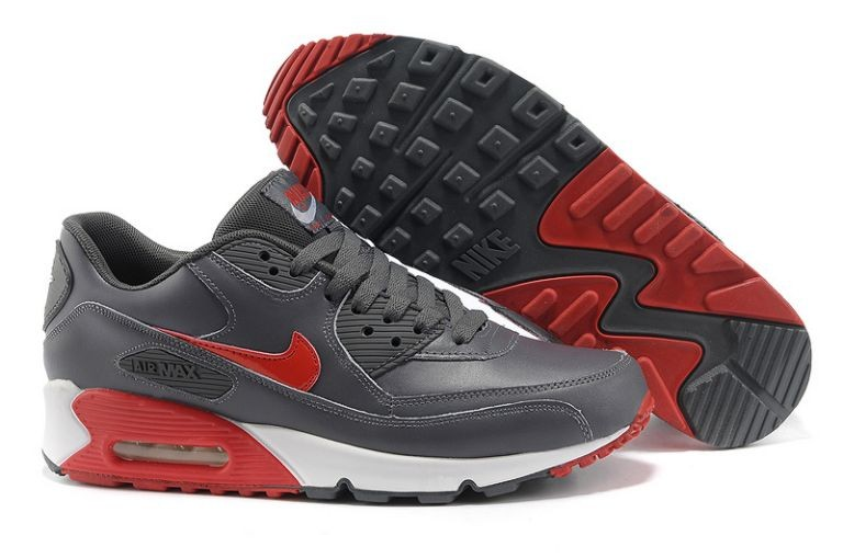 Nike Air Max 90 Essential Mens Trainers Leather Dark Grey Anthracite Hyper Red