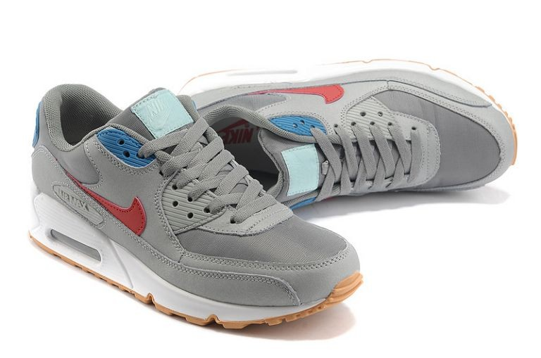 Nike Air Max 90 Essential Mens Trainers Neutral Grey Team Red