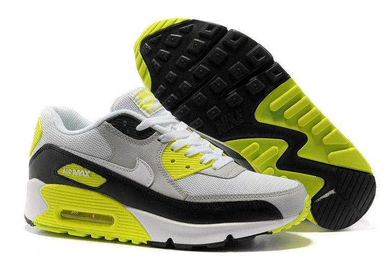 Nike Air Max 90 Essential Mens Trainers Sport Grey White Black Cyber Yellow