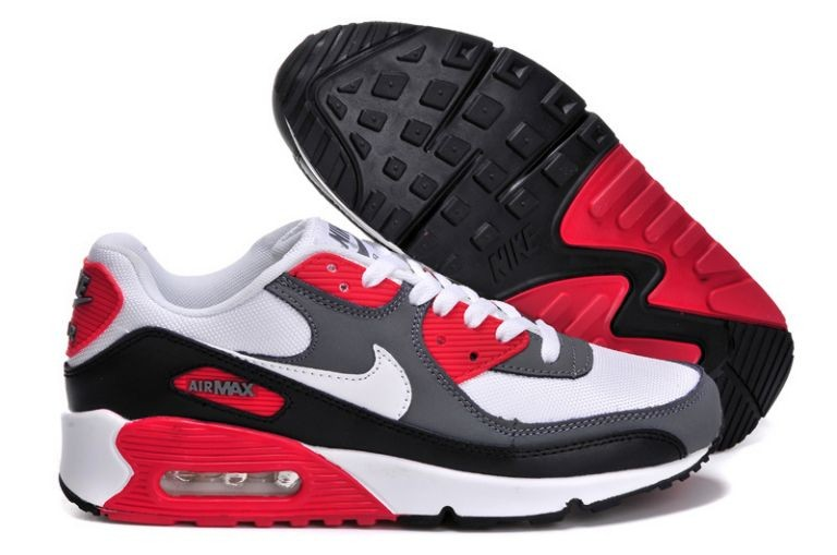 Nike Air Max 90 Essential Mens Trainers White Grey Black Red