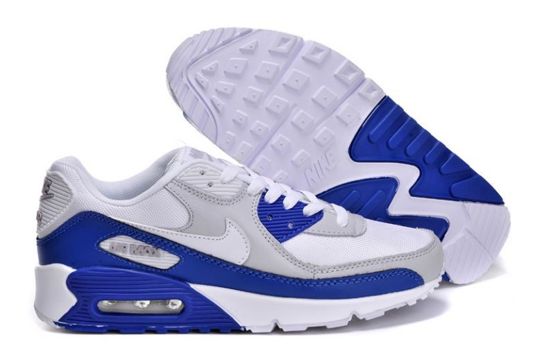 Nike Air Max 90 Essential Mens Trainers White Grey Hyper Blue