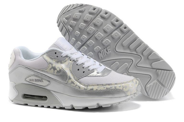 Nike Air Max 90 Essential Mens Trainers White Metallic Silver Leopard