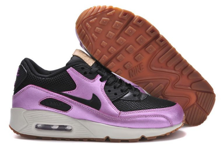 Nike Air Max 90 Essential Womens Trainers Black Purple Gum