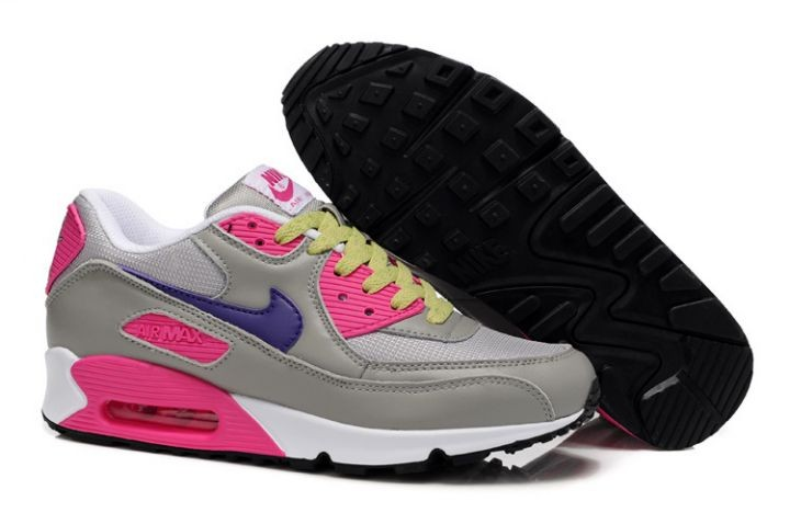 Nike Air Max 90 Essential Womens Trainers Cool Grey Purple Pink Volt