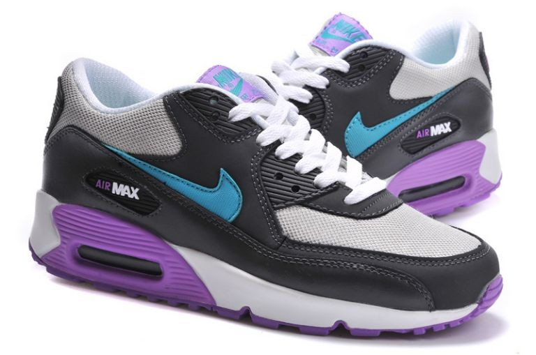 Nike Air Max 90 Essential Womens Trainers Dark Grey Turquoise Purple