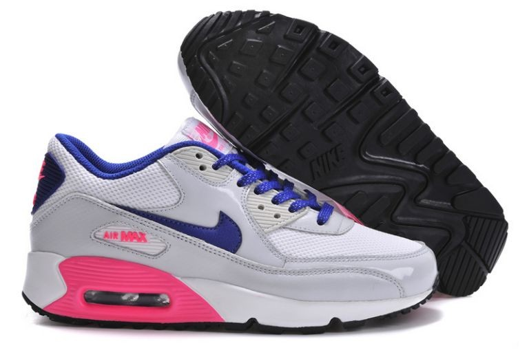 Nike Air Max 90 Essential Womens Trainers Sport Grey Blue Digital Pink