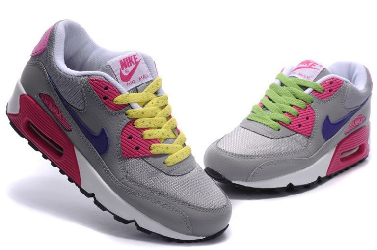 Nike Air Max 90 Essential Womens Trainers Sport Grey Purple Pink