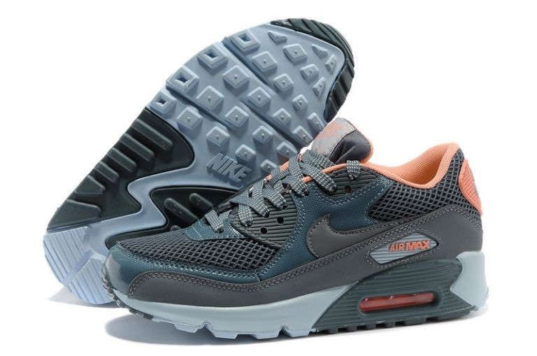 Nike Air Max 90 Essential Womens Trainers Sport Grey Total Orange