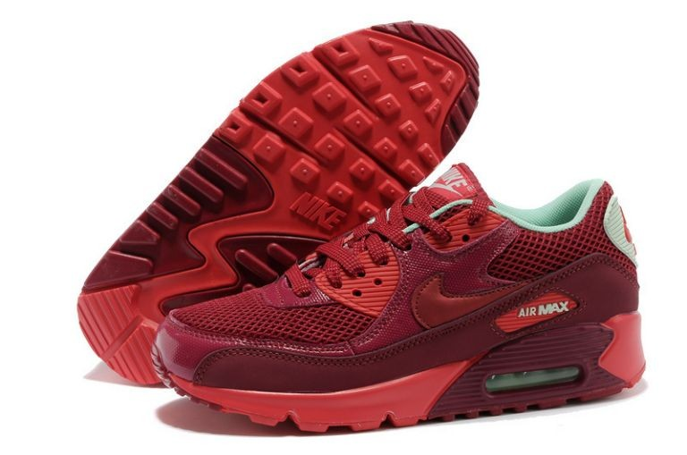 Nike Air Max 90 Essential Womens Trainers Team Red Jacquard