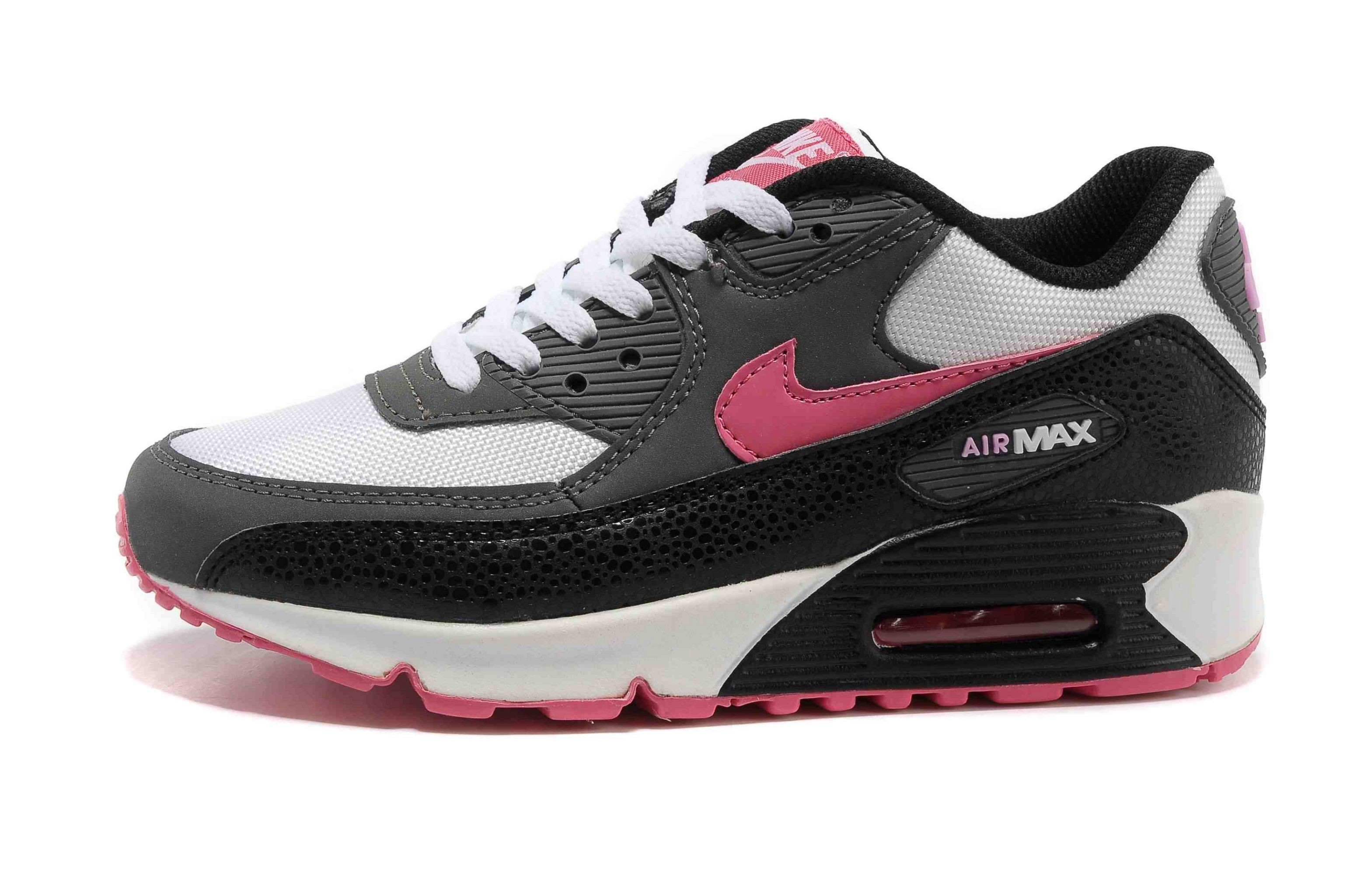 Nike Air Max 90 Essential Womens Trainers White Dark Grey Pink