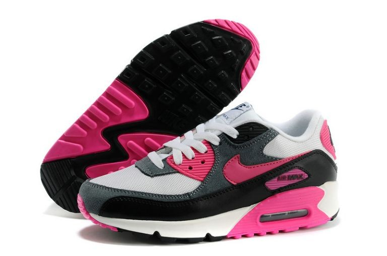 Nike Air Max 90 Essential Womens Trainers White Grey Black Laser Pink