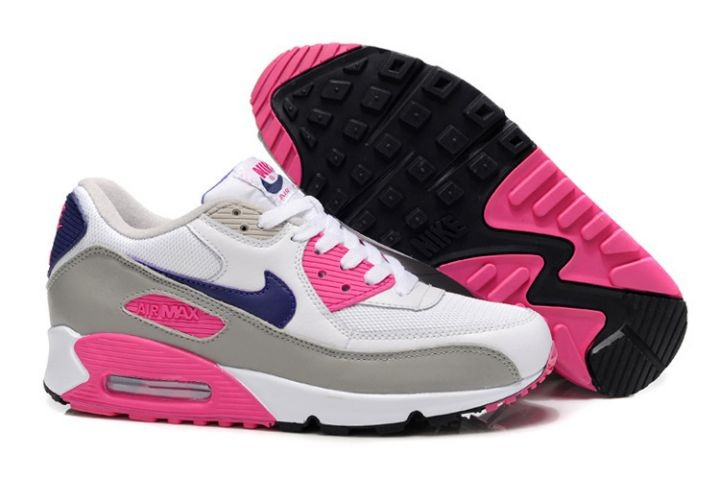 Nike Air Max 90 Essential Womens Trainers White Grey Purple Pink Foil