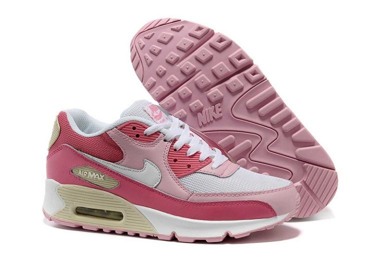 Nike Air Max 90 Essential Womens Trainers White Pink Beige