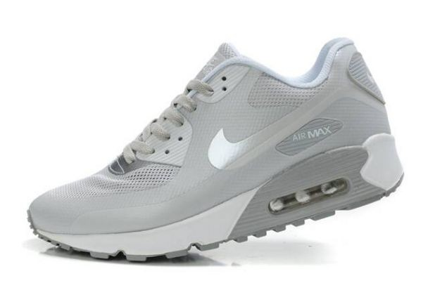 Nike Air Max 90 Hyperfuse Premium Mens Shoes Cool Grey Metallic Silver White