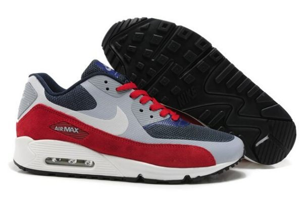 Nike Air Max 90 Hyperfuse Premium Mens Shoes Dark Grey Cool Grey Red