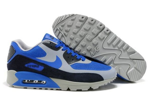 Nike Air Max 90 Hyperfuse Premium Mens Shoes Royal Grey Black