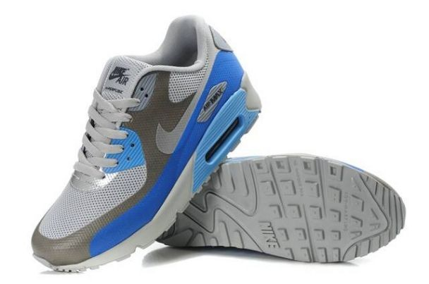 Nike Air Max 90 Hyperfuse Premium Mens Shoes White Grey Metallic Silver Blue Glow