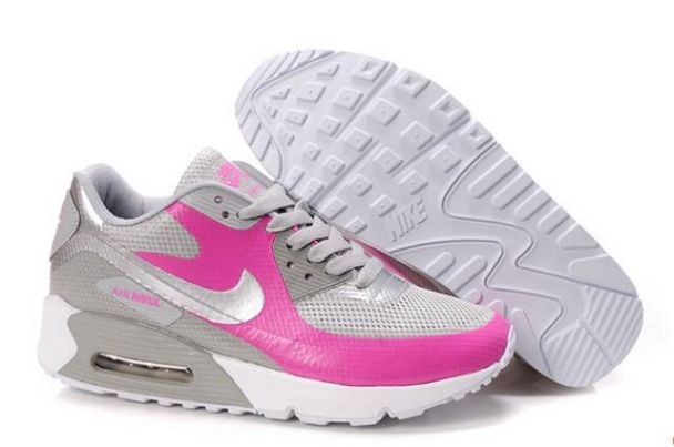 Nike Air Max 90 Hyperfuse Womens Shoes White Metallic Silver Pink Grey