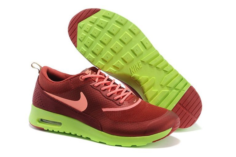Nike Air Max Thea Mens Trainers Burgundy Coral Lime
