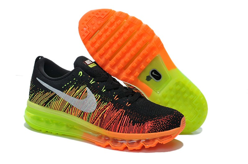 Nike Flyknit Air Max Mens Running Shoes Black Atomic Orange Volt