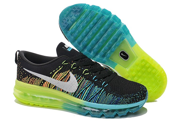 Nike Flyknit Air Max Mens Running Shoes Black White Turbo Green Volt