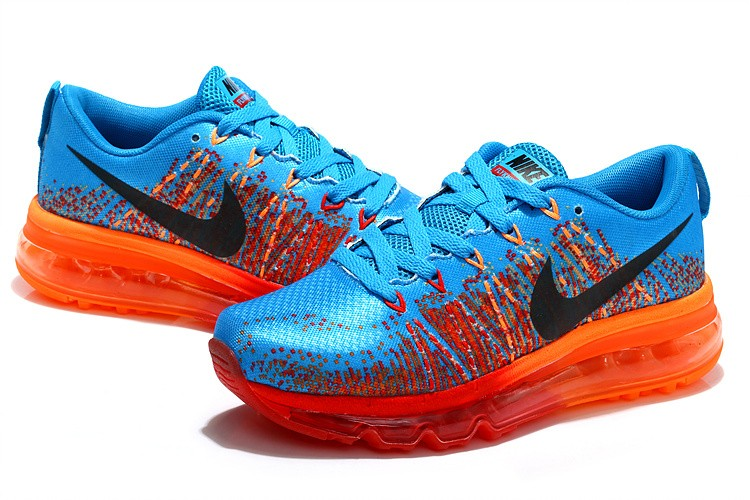 Nike Flyknit Air Max Mens Running Shoes Blue Black Orange