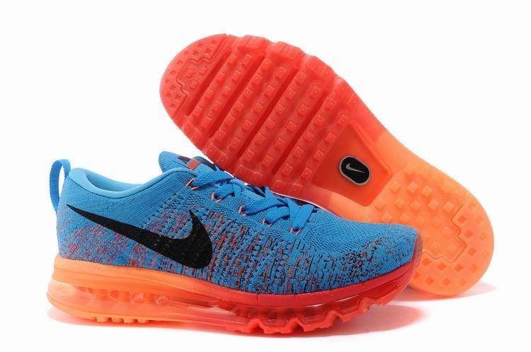 Nike Flyknit Air Max Mens Running Shoes Blue Black Red Orange