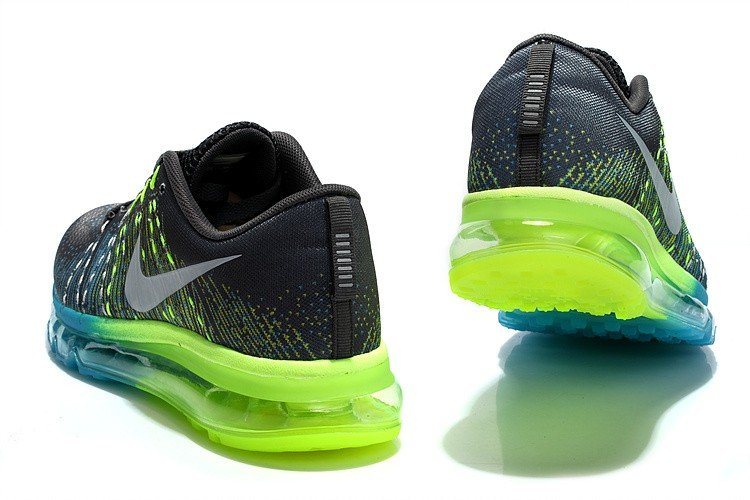 Nike Flyknit Air Max Mens Running Shoes Grey Green Blue