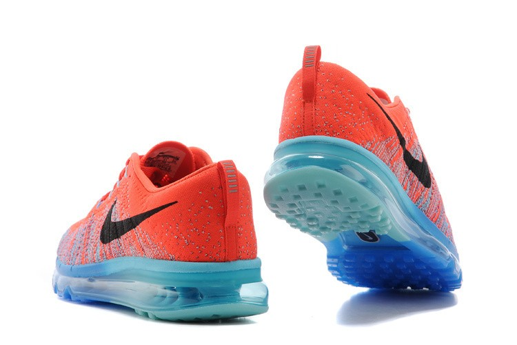 Nike Flyknit Air Max Mens Running Shoes Orange Jade Blue