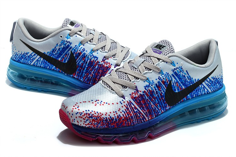 Nike Flyknit Air Max Mens Running Shoes Silver Blue Plum Red