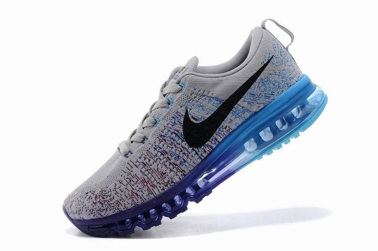 Nike Flyknit Air Max Mens Running Shoes Wolf Grey Blue Purple