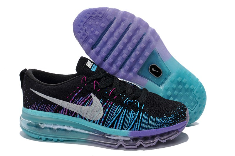 Nike Flyknit Air Max Womens Running Shoes Black Blue Purple