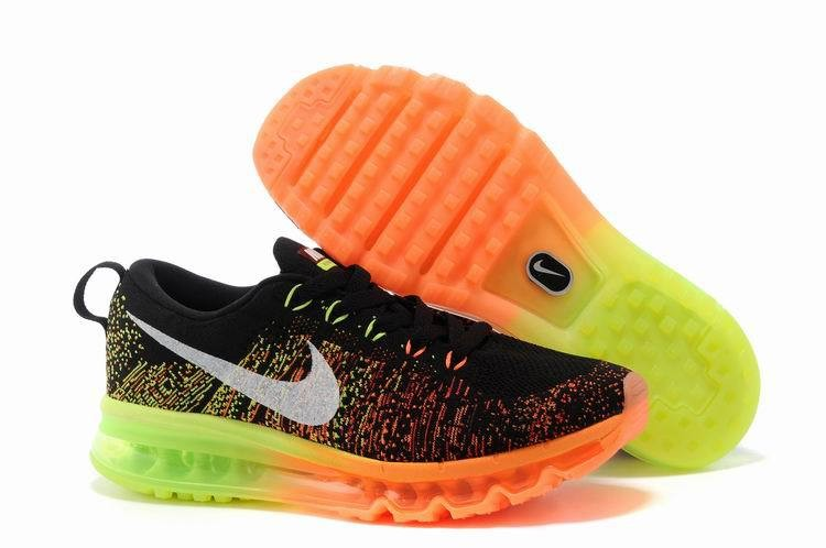 Nike Flyknit Air Max Womens Running Shoes Black Orange Neon Green