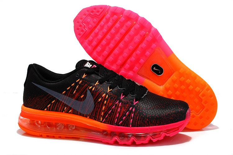 Nike Flyknit Air Max Womens Running Shoes Black Orange Pink