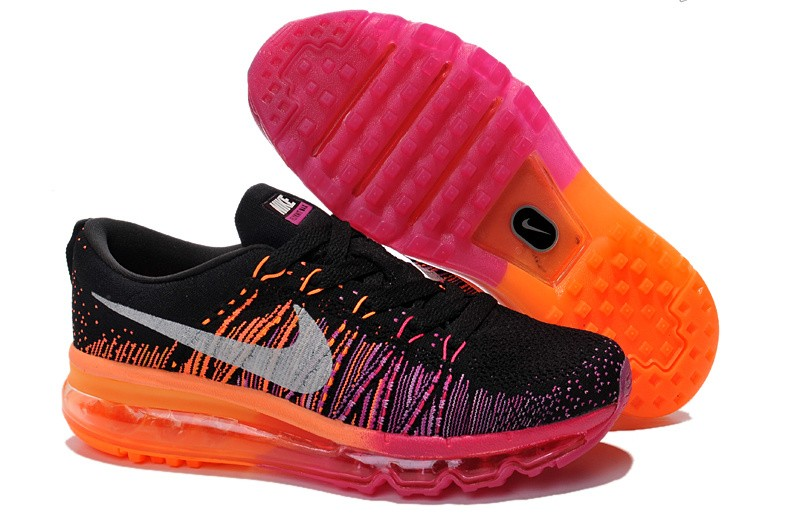 Nike Flyknit Air Max Womens Running Shoes Black Pink Orange