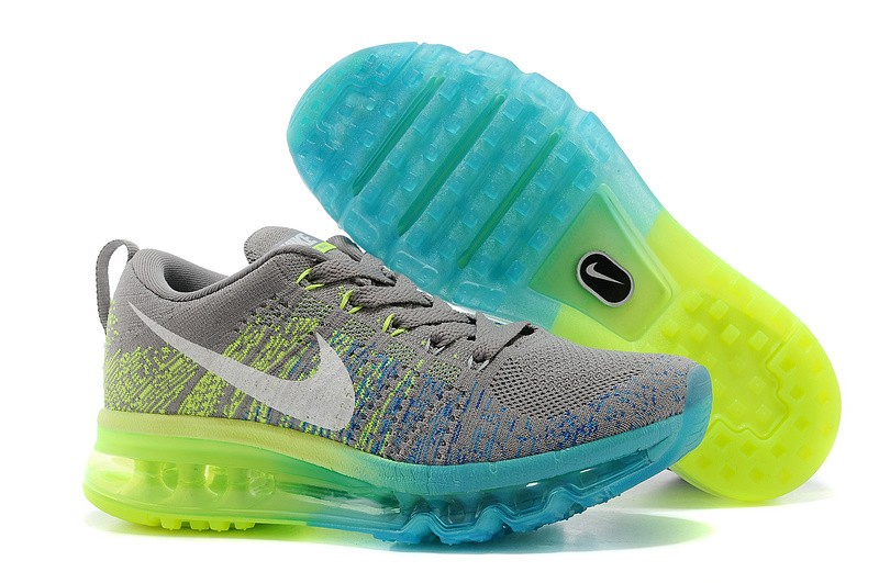 Nike Flyknit Air Max Womens Running Shoes Grey Blue Green