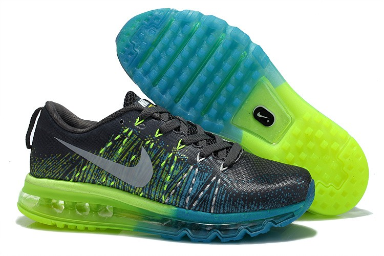 Nike Flyknit Air Max Womens Running Shoes Grey Green Blue