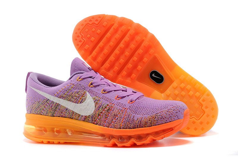 Nike Flyknit Air Max Womens Running Shoes Purple Orange