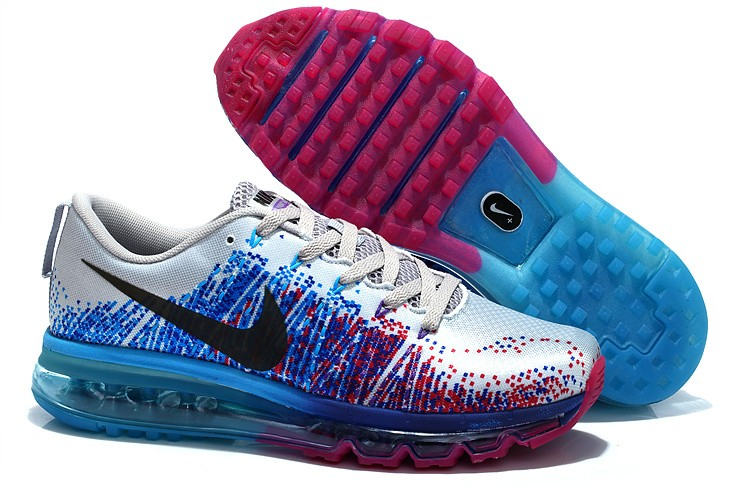 Nike Flyknit Air Max Womens Running Shoes Silver Blue Plum Red