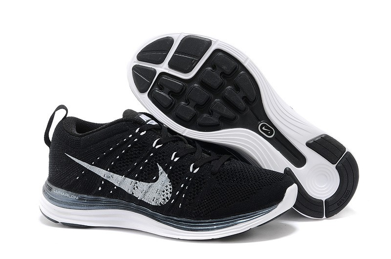 Nike Flyknit Lunar 1 Mens Black White Running Shoes