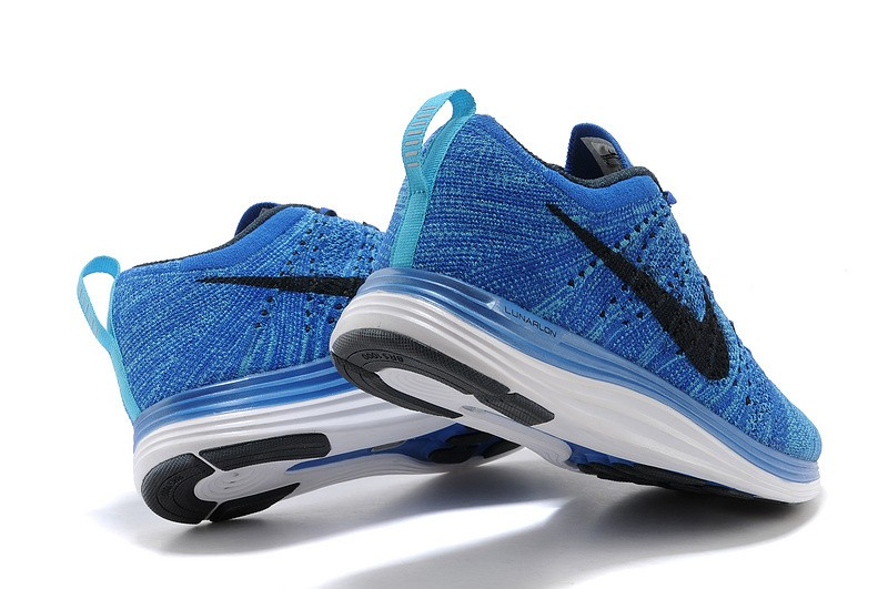 Nike Flyknit Lunar 1 Mens Game Royal Black Running Shoes