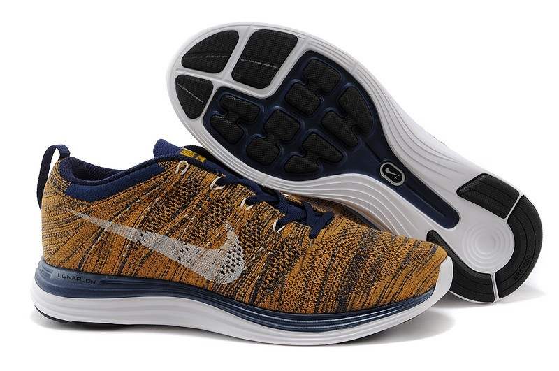Nike Flyknit Lunar 1 Mens Khaki Blue Running Shoes